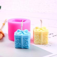 3D Christmas Gift Box Shape Candle Silicone Mold DIY Soap Aroma Candle Mold Craft Tool Handmade Soap Mold Silicone Mold