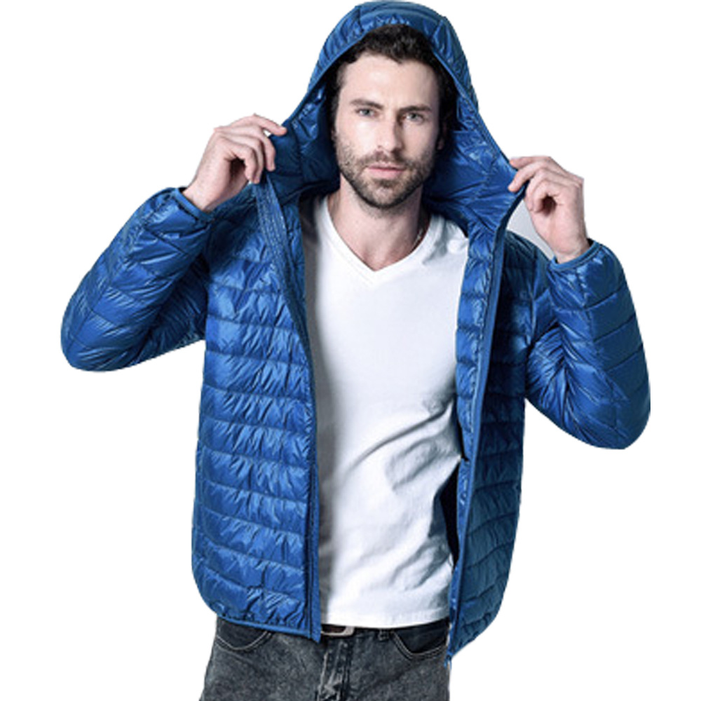 Casual Down Jacket Hoodies Solid White Duck Down Jacket For Men Windbreaker Coat Male Outwear Loose Ultra Light Jacket Parka
