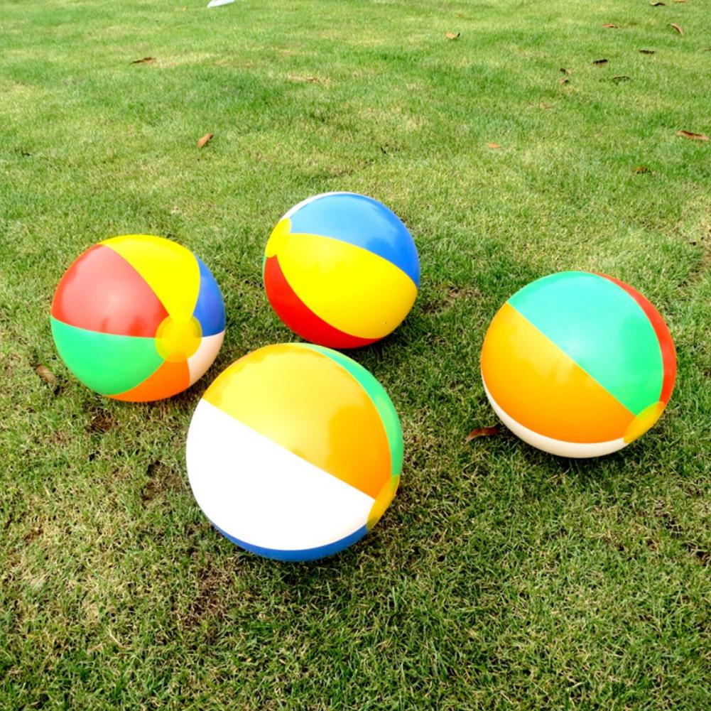 4Pcs Beach Ball Classic Rainbow Color Inflatable Beach Ball Leak-Proof PVC Floating Toys Summer Beach Pool Party School Supplies