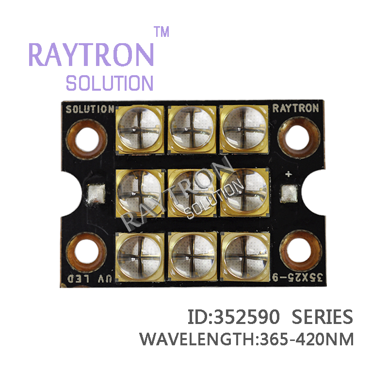 90 watts raytron high power ultraviolet led chips 395nm 385nm 405nm 365nm LED copper inkjet printer curing pcb violet led chip