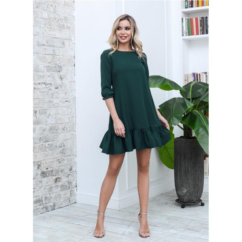 Femmes décontracté volants lâche Mini robe dames doux demi manches O cou solide robe 2020 automne nouvelle mode élégant robes de soirée