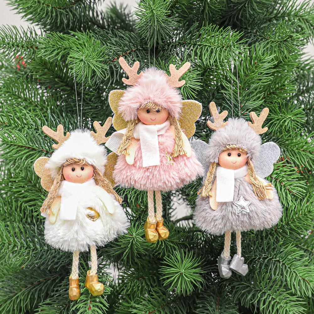 Рождественские плюшевые ангельские куклы для мальчиков и девочек, дневные рождественские украшения, рождественские украшения для дома, по...