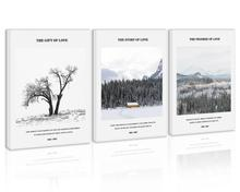 Black and White Tree Wall Art Decor Snow Mountain Forest Canvas Painting Kitchen Sky Winter Prints Pictures for Home Living Room