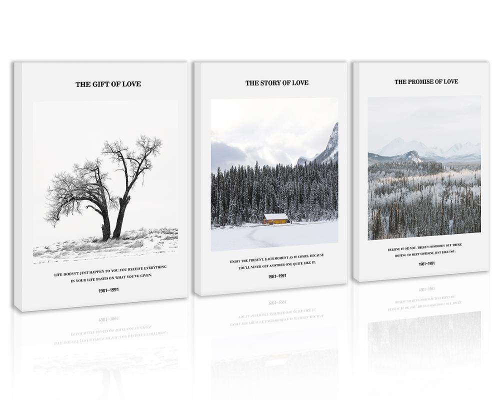 Noir et blanc arbre mur Art décor neige montagne forêt toile peinture cuisine ciel hiver imprime des images pour la maison salon