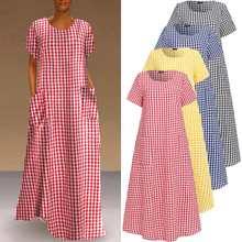 Long-Dress Casual-Robe Bohemian Maxi Plus-Size Women Vestido Printed Vintage Plaid Loose