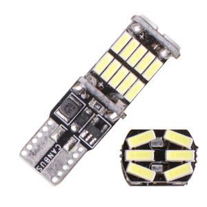 2Pcs 1200Lm T10 W5W LED Canbus Bulbs 4014 26SMD Instrument Lights White 12V 7000K LED Reversing Lights