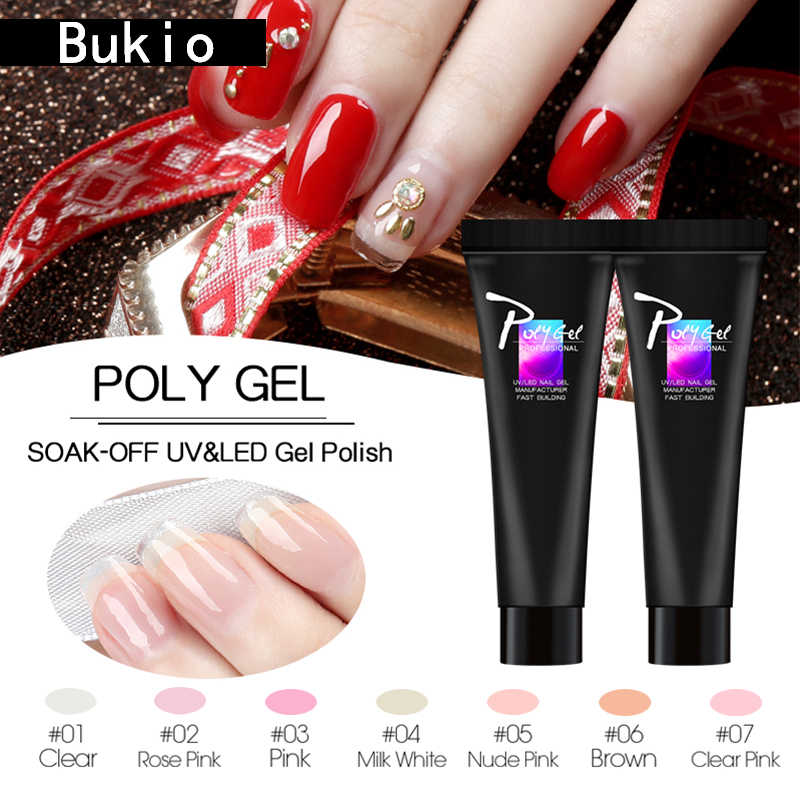 Bukio Finger Extension Camouflage UV LED Crystal Jelly Polygel Hard Gel Acrylic Builder Gel Pink White Primer for Nail Manicure