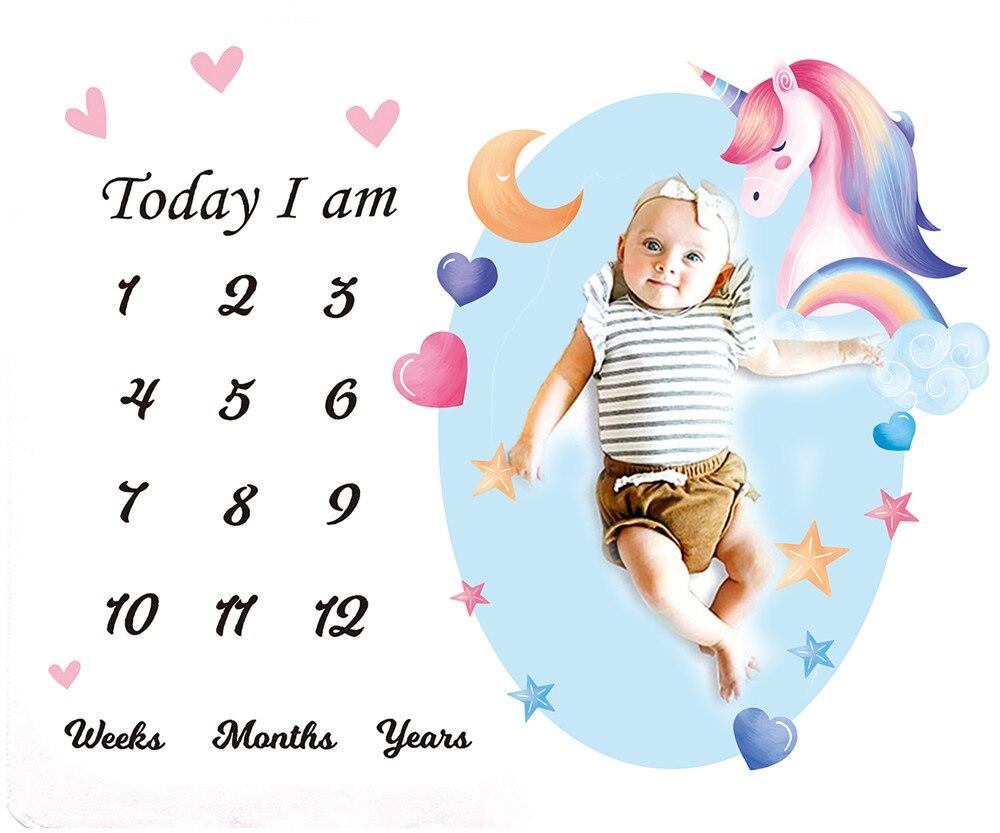 Newborn Baby Blanket Manta Play Mat Photo Blankets Photography Calendar Baby Hair Bow Milestone Background Photo Accessories