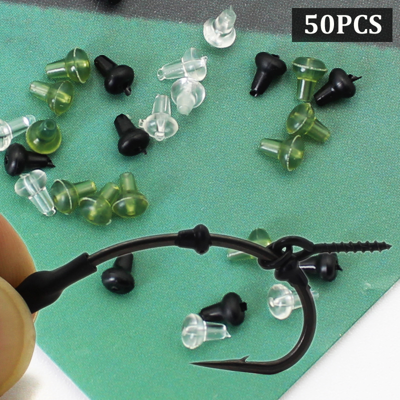 50PCS Carp Fishing Accessories Hook Stop Bead Stoper Carp Chod Heli Rig Rubber Beads For Hooks Stopper Fishing Tackle Tool Pesca