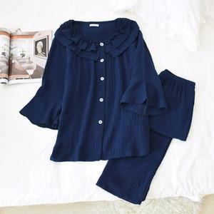Image 2 - Womens New Casual Round Neck Pajamas Three Quarter 100% Cotton Solid Crepe Pajama Set Woman Sleepwear Loungewear Home Clothes