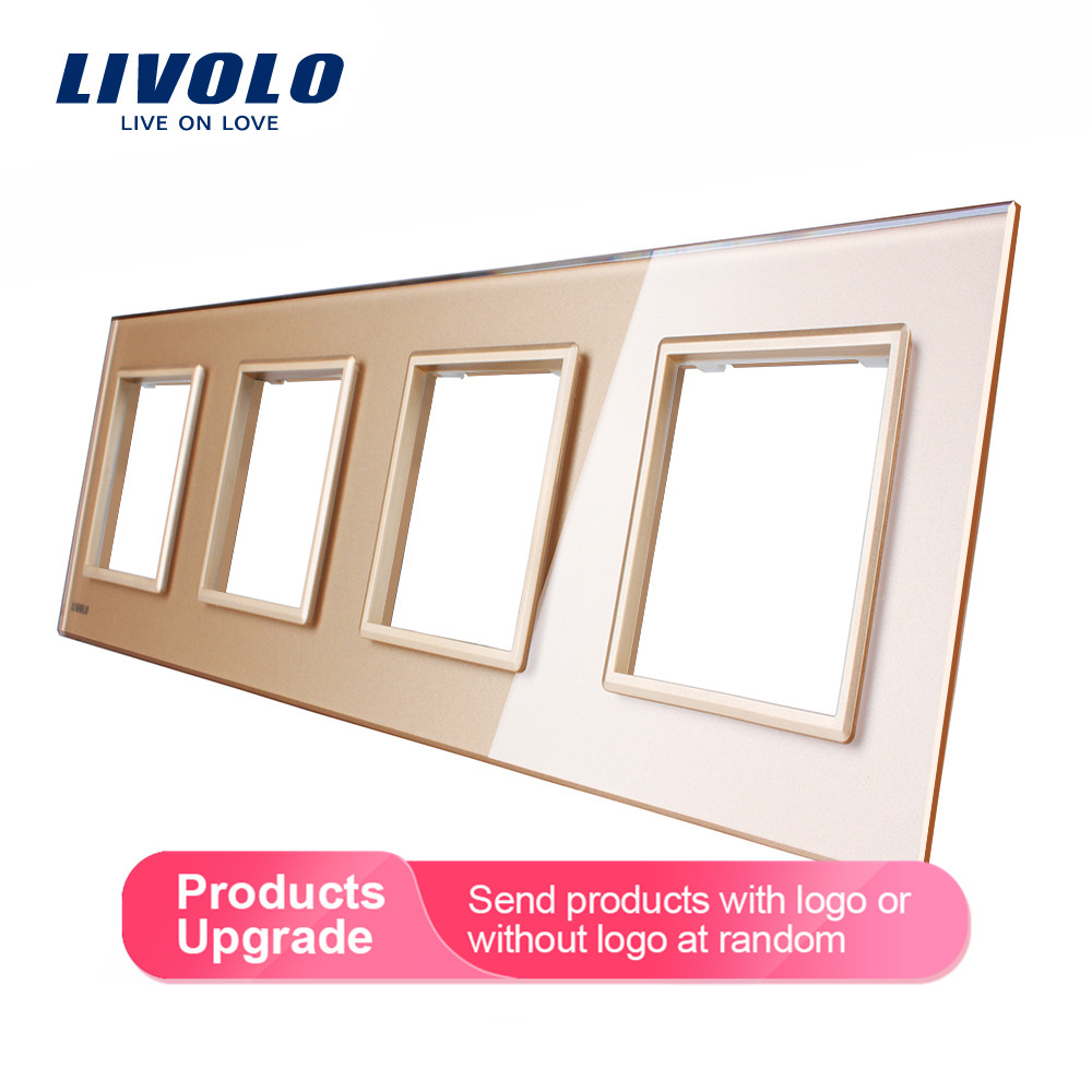 Livolo Luxury White Crystal Glass Switch Panel, 294mm*80mm, EU standard,Quadruple Glass Panel For Wall Socket C7-4SR-11