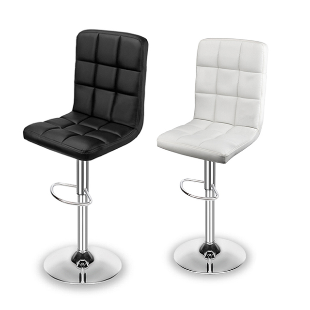 2pcs Modern Square Bar Stools Counter Height Bar Chairs PU Leather Adjustable Swivel Stools Gas lift Home Office Dining Chairs