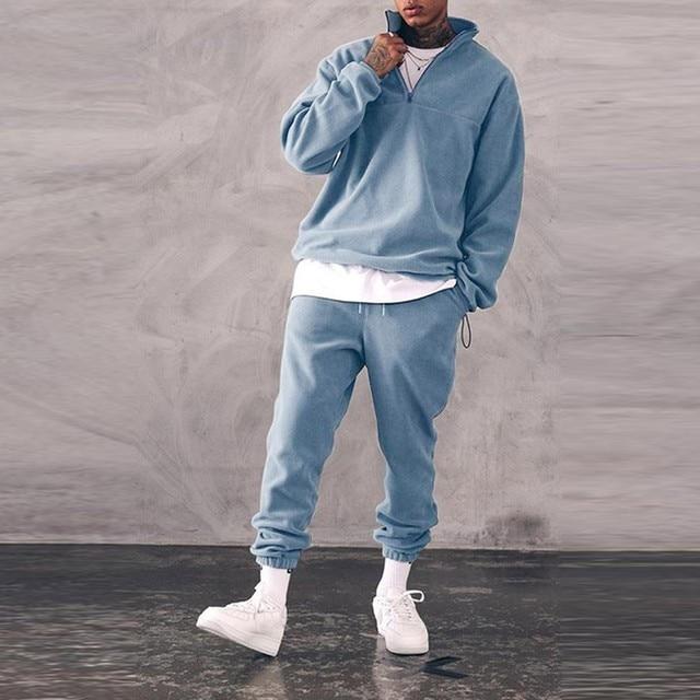 Sweatshirts Set Men Winter Warm Fashion 2021 Men's Jogger Tracksuit Solid Stand Collar Sweatshirt Casual 2 Pieces Sports Suits 4