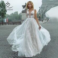 פיות תחרה חתונה שמלת 2020 Swanskirt V צוואר אפליקציות אונליין פרחי נסיכת בית משפט רכבת הכלה שמלת vestido דה noiva GY00
