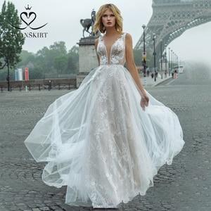 Image 1 - Fairy Lace Wedding Dress 2020 Swanskirt V neck Appliques A Line Flowers Princess Court Train Bride Gown vestido de noiva GY00
