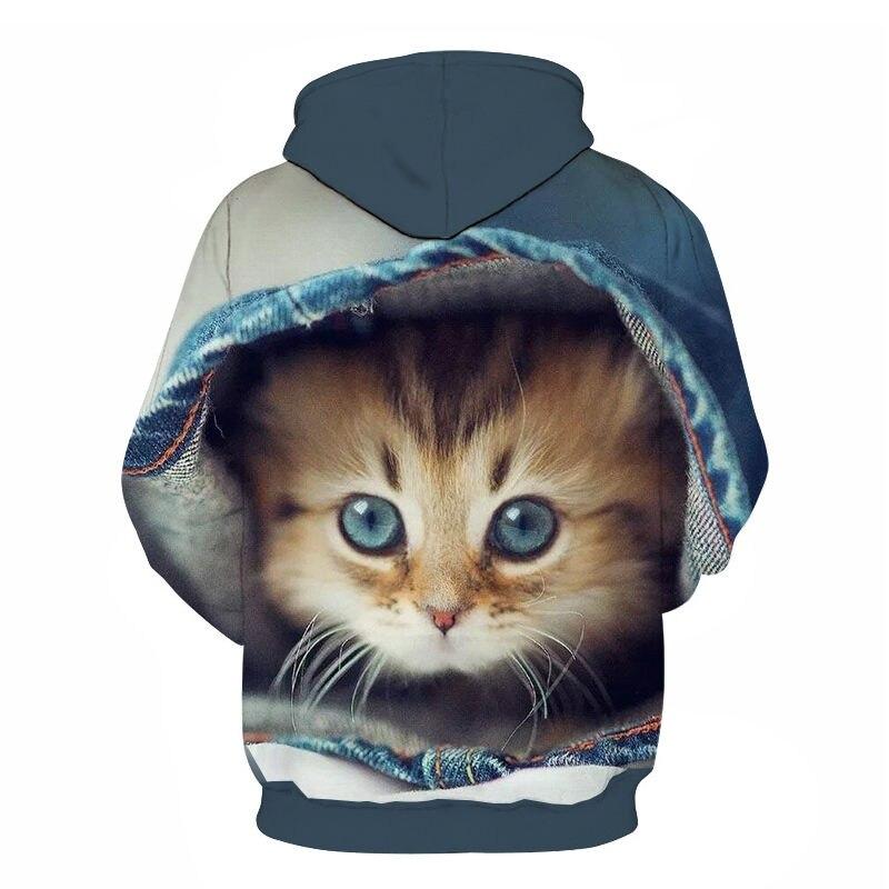 Women's Two Cat Sweatshirts Long Sleeve 3D Hoodies Sweatshirt Pullover Tops Blouse Pullover Hoodie Poleron mujer Confidante Tops 64