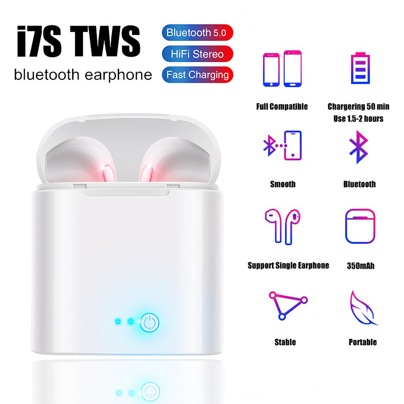 <font><b>i7s</b></font> <font><b>TWS</b></font> Mini <font><b>Wireless</b></font> <font><b>Bluetooth</b></font> <font><b>Earphone</b></font> <font><b>Stereo</b></font> <font><b>Earbud</b></font> Headset With Charging Box Mic For Xiaomi iphone All Smart Phone image