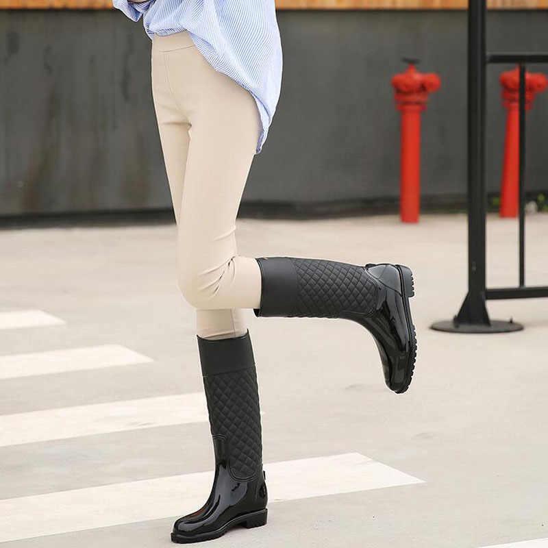 Punk tarzı fermuar yağmur çizmeleri kadın saf renk yağmur çizmeleri açık kauçuk su ayakkabısı kadın için 36-41 artı boyutu