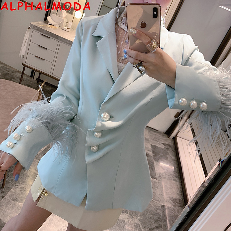 ALPHALMODA Pearl Button Feather Cuff Women Fashion Suit Single Breasted Long Sleeve Luxury Women Outfit Jacket Coat