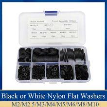 500 adet M2 M2.5 M3 M4 M5 M6 M8 M10 siyah veya beyaz plastik naylon yıkayıcı düz Spacer yıkama contaları conta halkası
