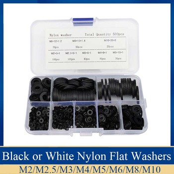 500Pcs M2 M2.5 M3 M4 M5 M6  M8 M10 Black or White Plastic Nylon Washer Flat Spacer Washer Seals Gasket Ring 50pcs female to female m2 m2 5 m3 m4 black hex nylon standoff spacer column flat head double pass nylon plastic spacing screws