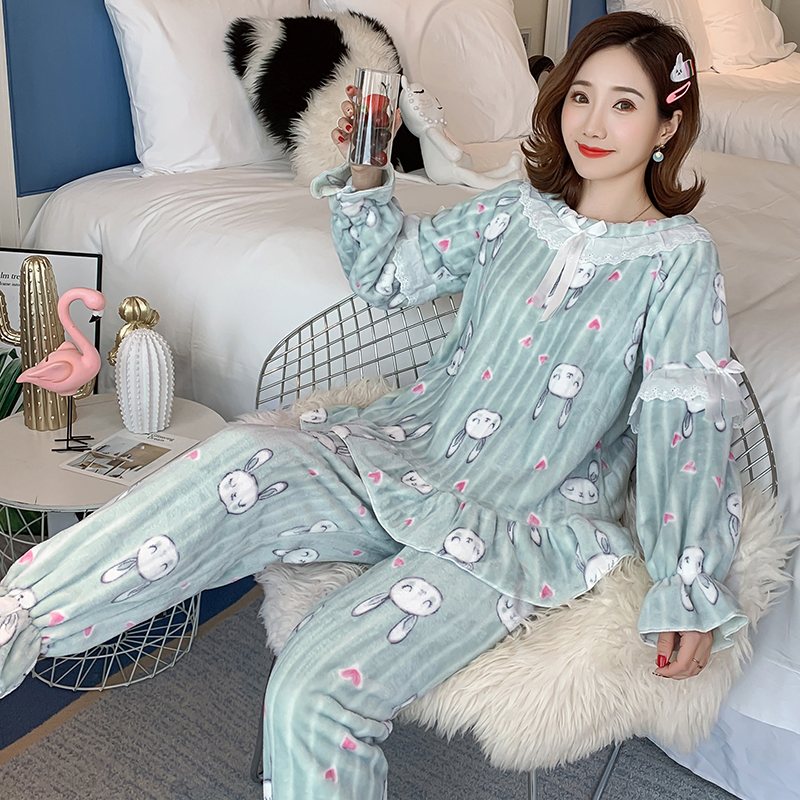 Loungewear Women 2019 Winter Warm Flannel Pajamas Set for Women New Air Cotton Print Christmas Clothes Thicken Home Service 20