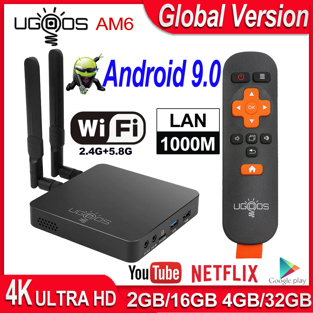 UGOOS AM6 Android TV BOX Amlogic S922X Android 9.0 Smart TV BOX AM6 Pro DDR4 4GB RAM 32GB Dual WiFi 1000M BT5.0 4K Media Player