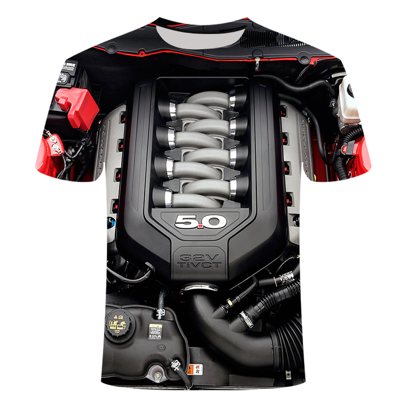 Summer Men's T-shirt Motorcycle T-shirt Punk Clothing Retro Clothes Mechanical T-shirt Tops Tee Men's Fun 3d Printed T-shirt