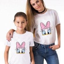 T-Shirt manches courtes femme motif canard marguerite, ample, Vintage, été, mère et fille, vêtements assortis pour la famille