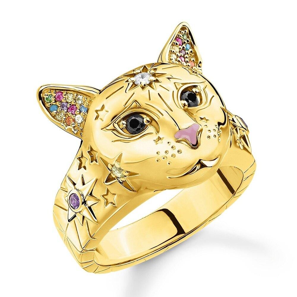 2020 модное роскошное богемное Ретро серебряное кольцо в виде кошки для женщин модное массивное ювелирное изделие регулируемое кольцо подар...