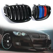 Car Gloss Black M-Color Front Kidney Grille Grill For 2003-2010 BMW E60 E61 5 Series 33 x 19 5.9cm Luxurious Sport Style