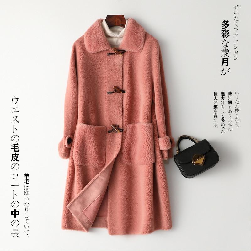 Coat Fur Real Autumn Winter Coat Women Clothes 2020 Sheep Shearling Real Wool Coat Female Korean Long Jacket HK19205