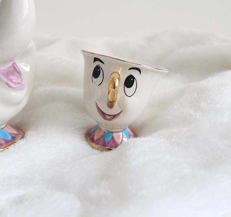 Модный чайный набор «Красавица и Чудовище», чашка с чипом Аки, мультяшная маленькая чайная кружка, прекрасный подарок, украшение