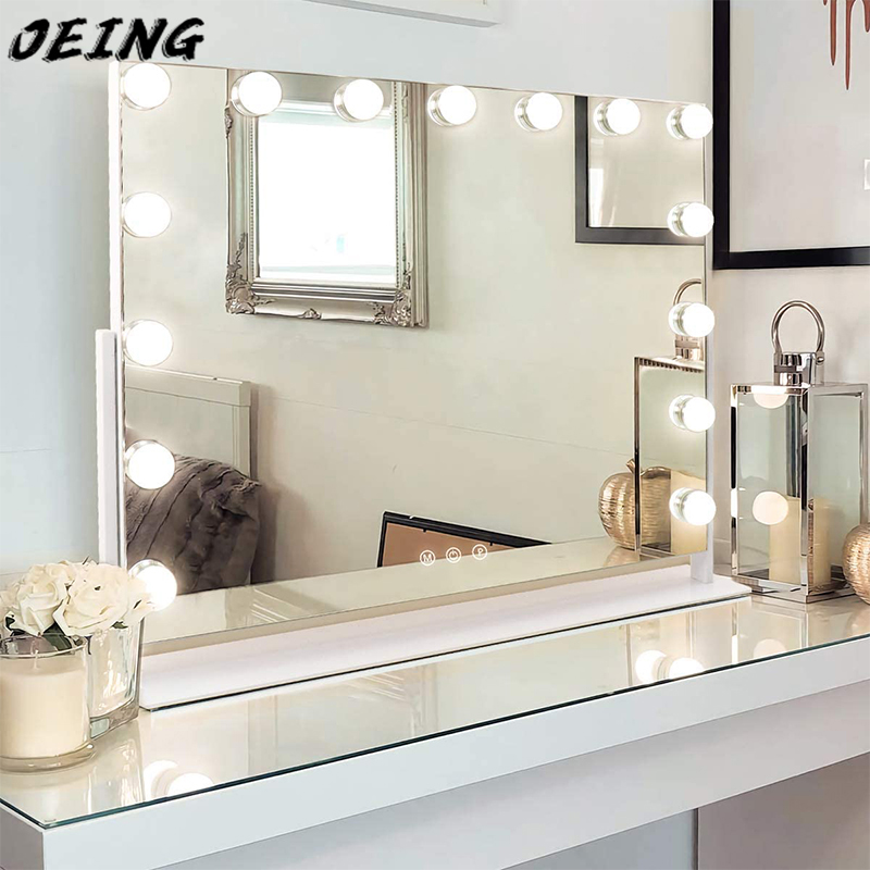 Large Make-UP Mirror With 15 Dimmable And 10x Magnification Hollywood Bright Mirror And USB Charging Port Cosmetic Mirror
