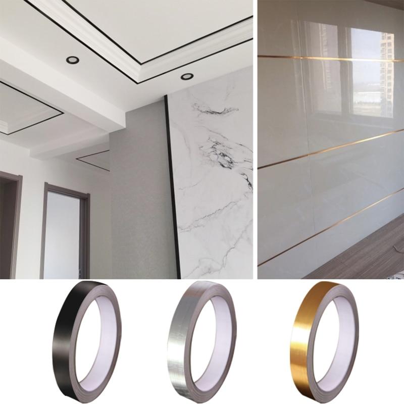 0.5/1/2*5000cm Silver/Gold Adhesive Floor Tile Strip Seam Sticker Waterproof Wall Sealing Tape Copper Foil Tape