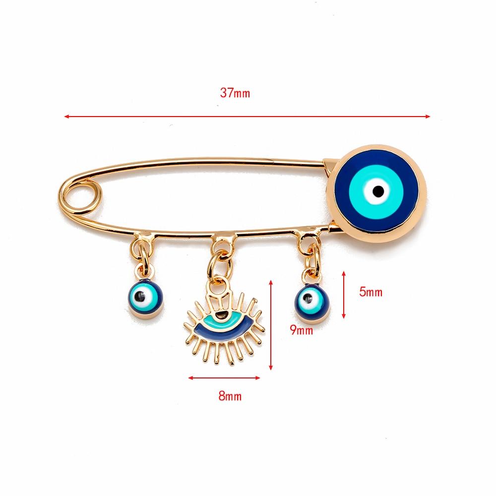 Lucky Eye Blue Turkish Evil Eye Brooch Pin for Women Men Dropping Oil Flower Crown Star Hamsa Hand Charm Fashion Jewelry BD52 5