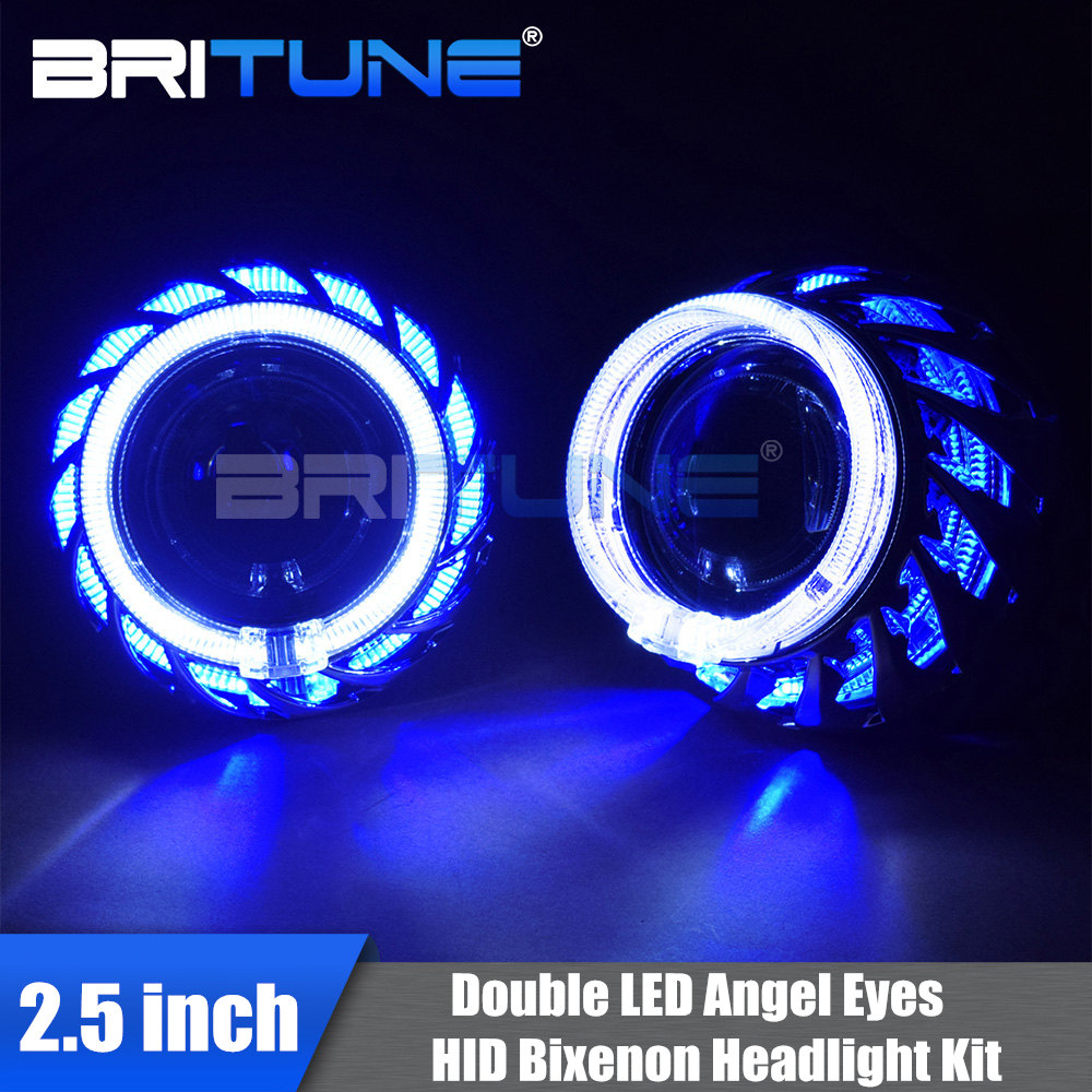 HID Projector Headlight Lenses Turbine Double Angel Eyes Bixenon Lens 2.5 LED Halo Rings For H4 H7 Car Lights Accessories Tuning