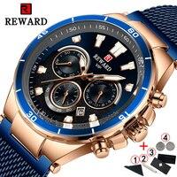 Reloj de pulsera para hombre, cronógrafo Masculino, de lujo, con gran recompensa, color azul y dorado, 2020