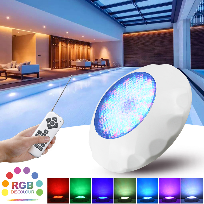 ABS LED Pool Light IP68 Waterproof Lighting Underwater Lamps AC12V Wall Mounted Lamps Submersible RGB Lights With Remote Control