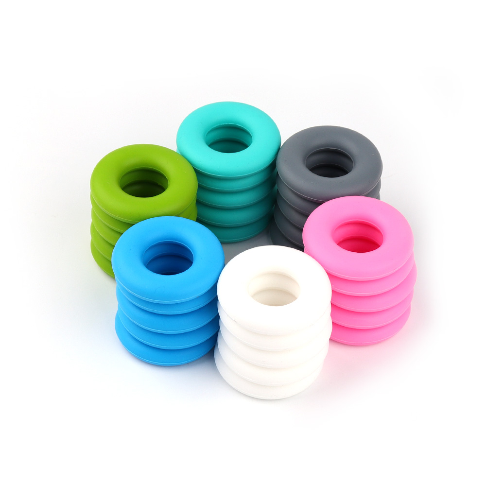 10pcs  Silicone Teething Beads Donut Beads DIY Pacifier Chains Food Grade Silicone Beads Baby Teether