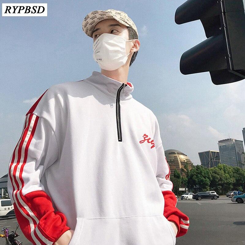 2019 Autumn Mens Striped Sweatshirts Stand Collar Hip Hop Zipper Design Korean Fashion Patchwork Men Hoodie Pullover Tracksuit in Hoodies amp Sweatshirts from Men 39 s Clothing
