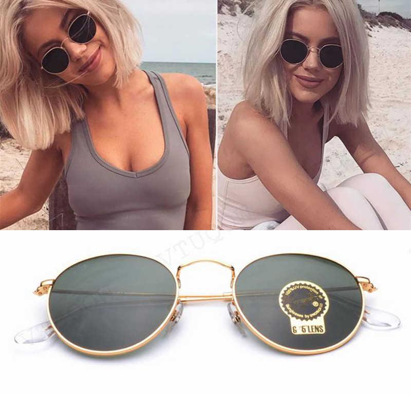 Pontos de luxo Do Vintage Rodada Óculos De Sol Das Mulheres Marca Designer de Óculos De Sol Feminino Óculos de Sol Para As Mulheres Senhora Óculos De Sol Espelho 2019 Raios