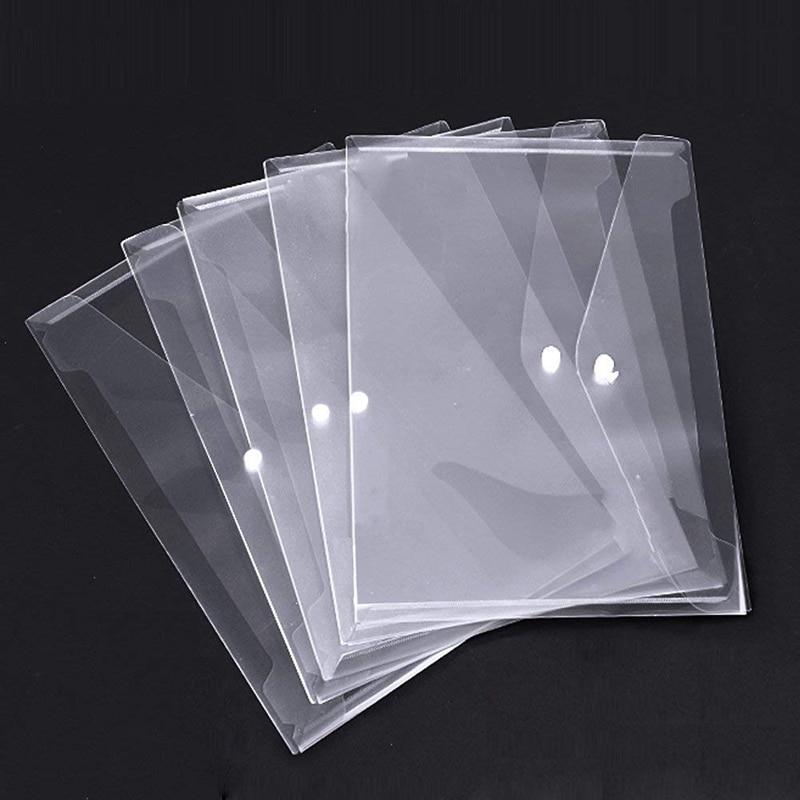 Poly Envelope Folder With Snap Button Closure, Premium Quality Clear Plastic Envelopes,30 Pcs Waterproof Transparent Project Env