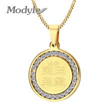 Modyle Gold Silver Color Muslim Islamic Hajj Umrah Monogram CZ Stone Stainless Steel Pendant Necklace for Man