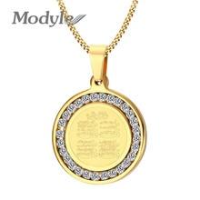 Modyle זהב כסף צבע מוסלמי האסלאמי חאג Umrah Monogram CZ אבן נירוסטה תליון שרשרת לגבר