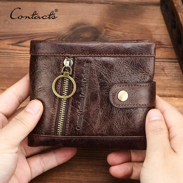 Contacts carteira de couro genuíno dos homens bolsa de moedas masculino pequenos suportes de cartão rfid carteiras ferrolho design casual portfel bolso com zíper