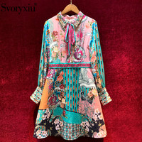 Svoryxiu Vintage Flower Print Jacquard Autumn Winter Dress Women's Fashion Designer Long Sleeve A Line Short Dress Vestdios