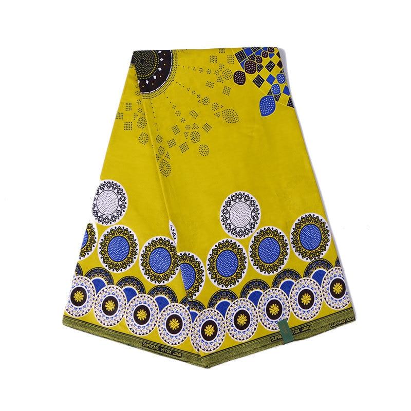 African Yellow 100% Cotton Print Wax Fabric Ankara Wax Fabric 6yard
