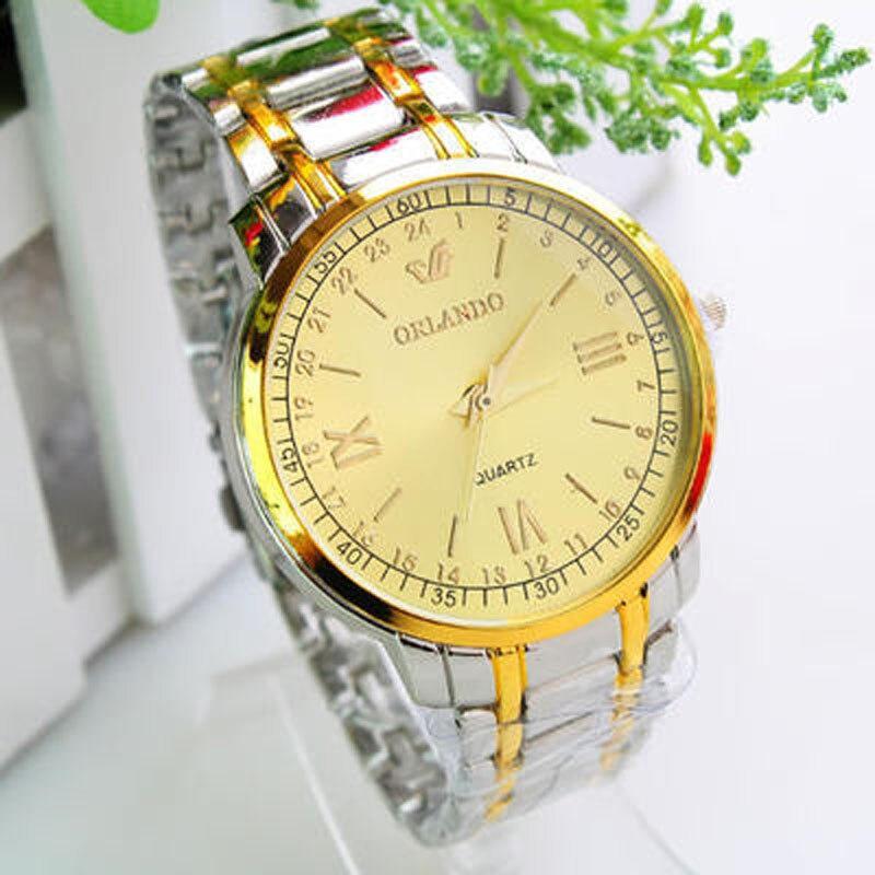 ORLANDO Fashion Business Men Watches Luxury Gold Stainless Steel Quartz erkek kol saati horloges mannen