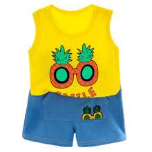 Children New Summer Cartoon Clothes Suit Baby Girls Boy Fashion Vest Shorts 2Pcs/sets Kids Infant Casual Outfit Toddler Clothing